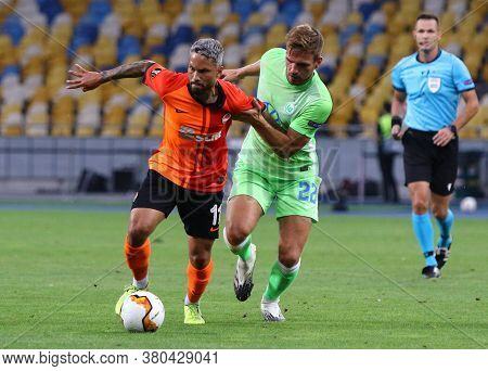 Kyiv, Ukraine - August 5, 2020: Marlos Of Shakhtar Donetsk (l) Fights For A Ball With Marin Pongraci