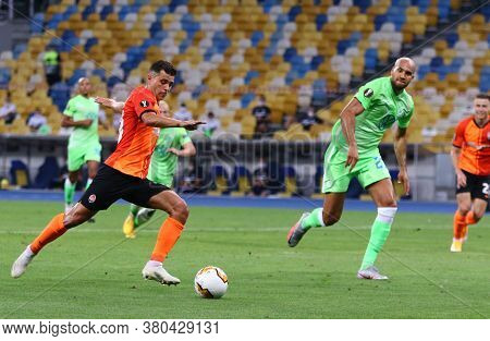 Kyiv, Ukraine - August 5, 2020: Junior Moraes Of Shakhtar Donetsk (l) Kicks A Ball During The Uefa E