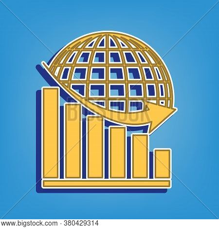 Declining Graph With Earth. Golden Icon With White Contour At Light Blue Background. Illustration.