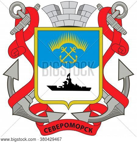 Coat Of Arms Of Severomorsk In Russia