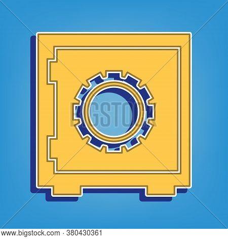 Safe Sign Illustration, Crib, Vault, Lock Box. Golden Icon With White Contour At Light Blue Backgrou