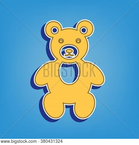 Teddy Bear Sign Illustration. Golden Icon With White Contour At Light Blue Background. Illustration.