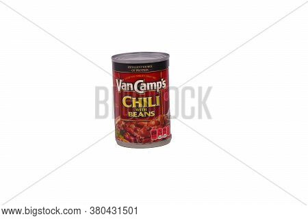 A Can O Van Camps Chili With Beans Isolated On White