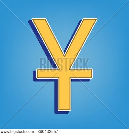 Chinese Yuan Sign. Golden Icon With White Contour At Light Blue Background. Illustration.