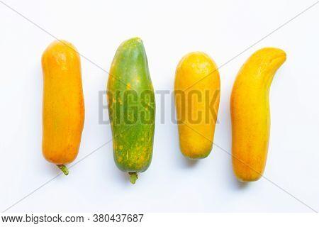 Papaya Fruit On White Background. Top View