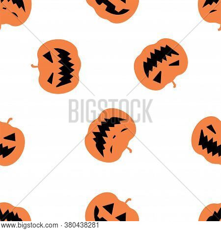 Halloween Seamless Pattern With Pumpkins. Halloween Background With Pumpkins. Colored Vector Pattern