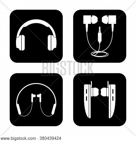 Headset Icons Set. Outline Set Of Headset Vector Icons For Web Design Isolated On White Background