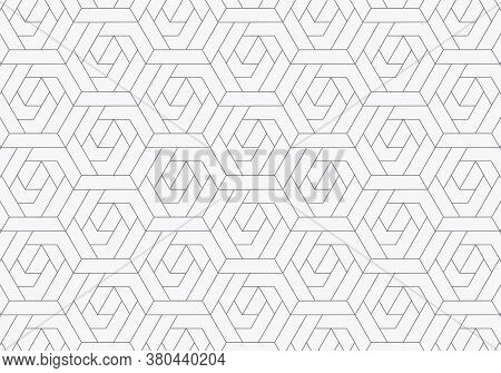 Abstract Geometric Pattern With Crossing Thin Lines On Hexagon Shape With Light Color Background. St