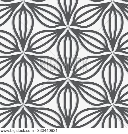 Abstract Flower Petal With Its Shadow, Black And White Pattern Background. Pattern Is Clean For Fabr