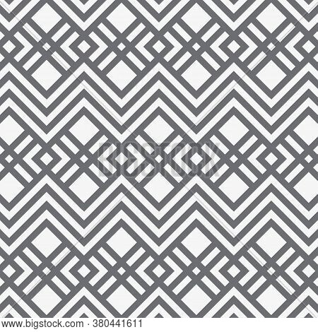 Geometric Vector Pattern, Repeating Stripe Linear Diamond And Square Shape Background. Pattern Is Cl