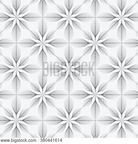 Abstract Leaves On Garland Vector Pattern, Repeating Linear Skeleton Leaves Or Abstract Flower. Patt