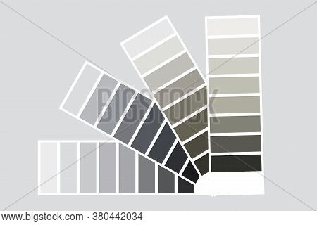 The Palette Is Gray. Fan-shaped Palette Vector. Gray Squares With A Gradient. Set Of Gray Textures.