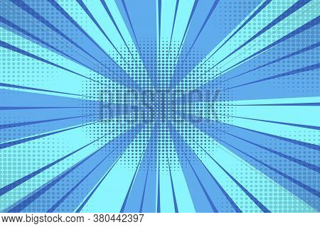 Vector Blue Background With Rays. Abstract Burst Of Blue Sunbeams. Blue Half-tones In The Form Of Ra