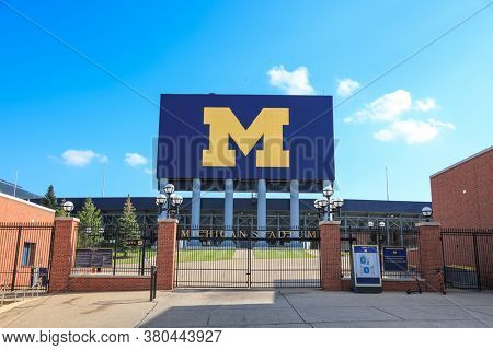 ANN ARBOR, MI - AUGUST 09,2020: University of Michigan stadium, is the largest stadium in the United States, and entire Western Hemisphere.