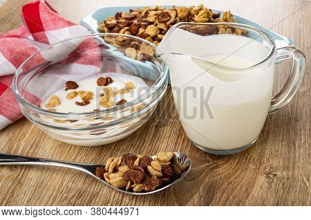 Blue Bowl With Cereal, Napkin, Cereal Grains Breakfast With Chocolate And Caramel In Glass Bowl With