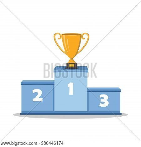 Podium For Winners With A Gold Cup, Close-up, Isolated On A White Background, Vector Color Illustrat