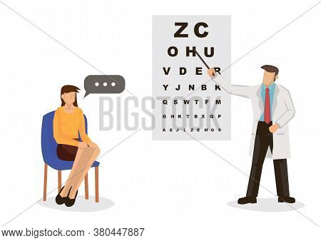 Male Ophthalmology Doctor In Uniform Pointing To An Eye Test Chart With A Young Woman. Medicine, Opt