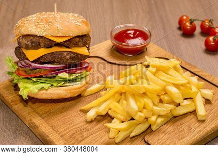 Double Veal Cheeseburger A Wooden Board Veal Cutlets, Fried Burger Bun, Ketchup, Pickle Cucumber, On