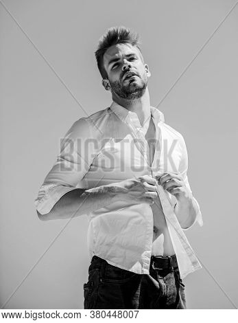 Attractive Man Taking Off Shirt. Confident In His Appealing. Bearded Guy Business Style. Handsome Ma