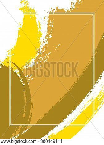 Vertical Frame With Paint Brush Strokes Background.  Grunge Design Template For Card. Vector Border