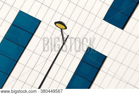 Concept Of A Blue And White Wall With And A Streetlight Pole, Abstract Image Of A Colorful Wall Next