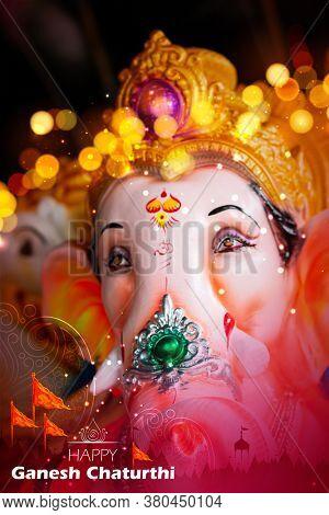 Lord Ganesha on Ganpati holiday background for Happy Ganesh Chaturthi festival of India