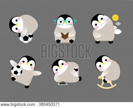 Cute Penguin Set Of Illustrations, With Penguins In Different Situations. Vector Illustration