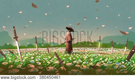 Samurai Standing Among The Swords Impaled On The Ground In The Flower Fields, Digital Art Style, Ill