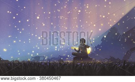 A Young Boy Plays Guitar In The Meadow And Looking At The Beautiful Sky, Digital Art Style, Illustra