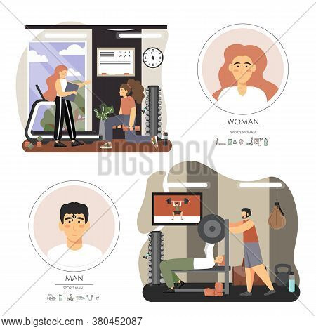 Fitness Gym. People Training With Personal Instructors, Vector Flat Illustration