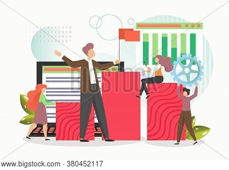 Successful Business Man Leader With Red Flag Leading His Team To Success, Vector Flat Illustration