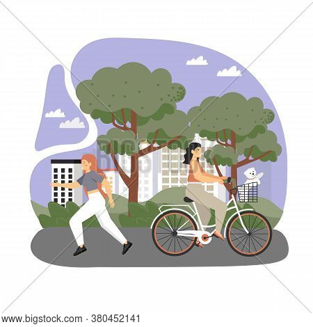 Happy Female Characters Riding Bicycle And Running In City Park, Vector Flat Illustration
