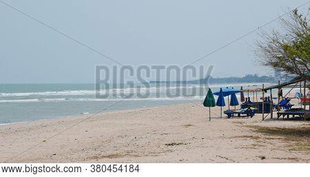 Hua Hin, Thailand, 29 March 2020: Hua Hin Beach