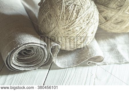 Old Homespun Linen Canvas In Roll And Yarn In Balls