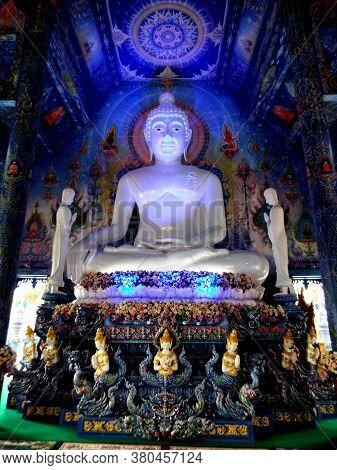 Chiang Rai. Thailand, June 16, 2017: Wat Rong Suea Ten. Buddha Sculpture From Blue Temple In Chiang
