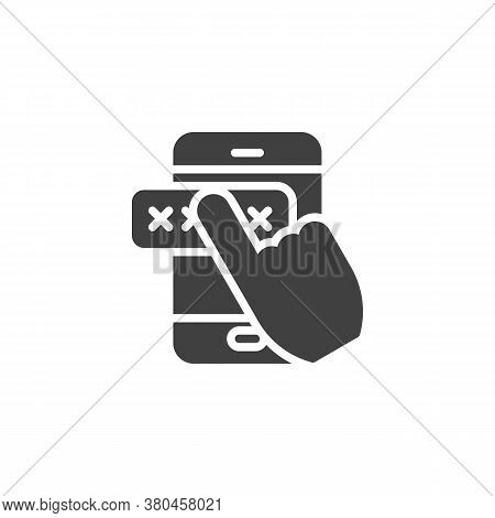 Mobile Phone Security Vector Icon. Filled Flat Sign For Mobile Concept And Web Design. Entering Pass