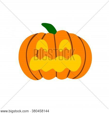 Scary Pumpkin For Halloween. Creepy Pumpkin Is A Symbol Of The Halloween Holiday. Vector Flat Illust