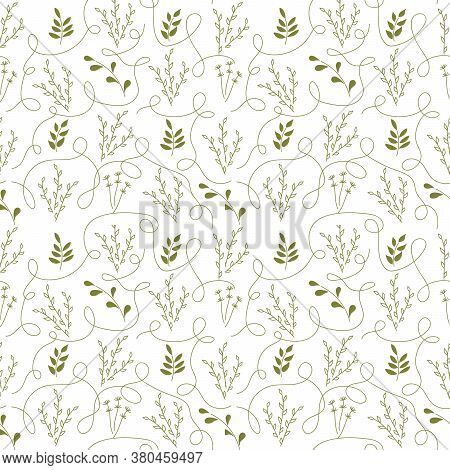 Monochrome. Seamless Pattern. Simple Flat Floral Motif . Twigs With Leaves, Ornate Thread. Suitable