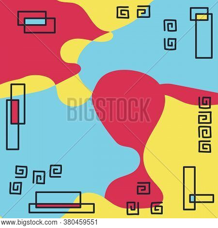 Abstract Background In Trendy Memphis 80s-90s Style.vector Pattern With Geometric Forms
