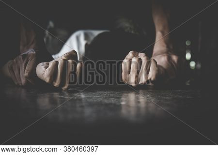 Close Up Of Man Hands Holding A Woman Hands For Rape And Sexual Abuse, Domestic Violence, Anti-traff