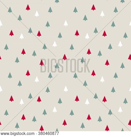 Silhouettes Of Small Stylized Christmas Trees . Seamless Background Vector Illustration
