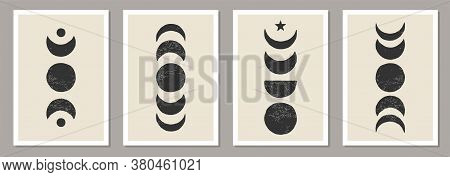 Trendy Set Of Moon Phases Abstract Contemporary Aesthetic Posters
