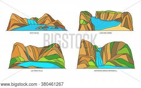Set Of Australia Nature Landmarks, Lake, Waterfall