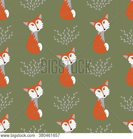 Cute Red Fox And Twigs. Vector Seamless Pattern, Vector Illustration.