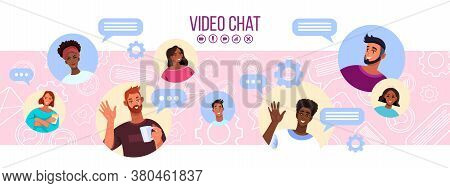 Video Chat Or Conference Vector Illustration With Multi-national Peoples' Avatars On Abstract Backgr