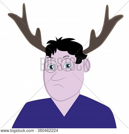 Portrait Of A Caricature Man With Antlers Isolated White Background.