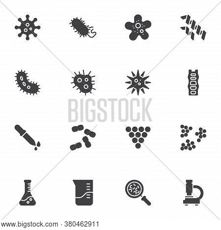 Bacteria Vector Icons Set, Modern Solid Symbol Collection, Filled Style Pictogram Pack. Signs, Logo