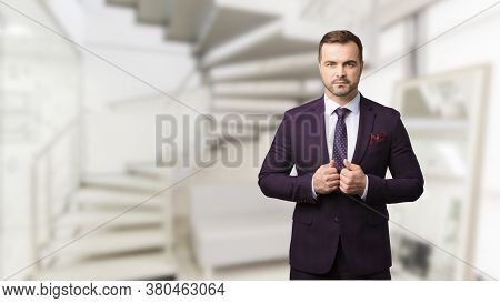 Sharp-dressed Successful And Masculinity Man At Men's Beauty Salon. Picture For Advertising A Men's