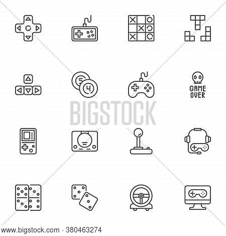 Gaming And Entertainment Line Icons Set, Outline Vector Symbol Collection, Linear Style Pictogram Pa
