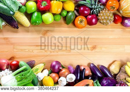 Fresh Vegetables And Fruits On A Wooden Background With Copy Space,colorful Fruits And Vegetables,cl